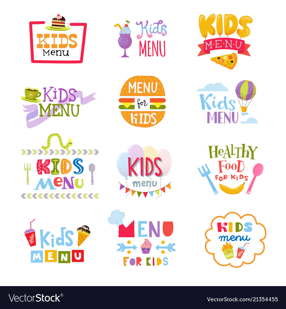 Kids menu lettering template for child s