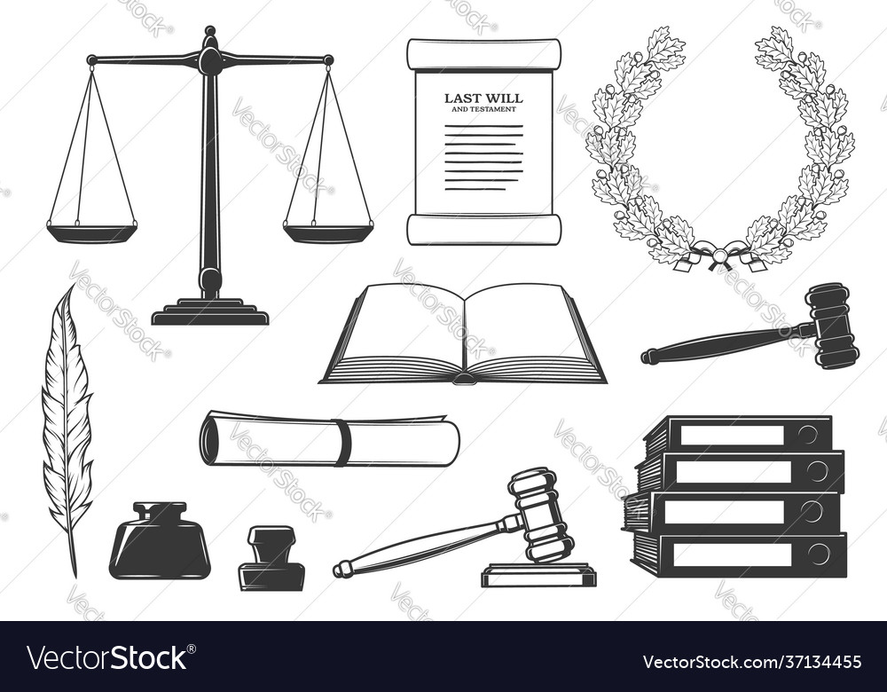 Law court and criminal justice system icons