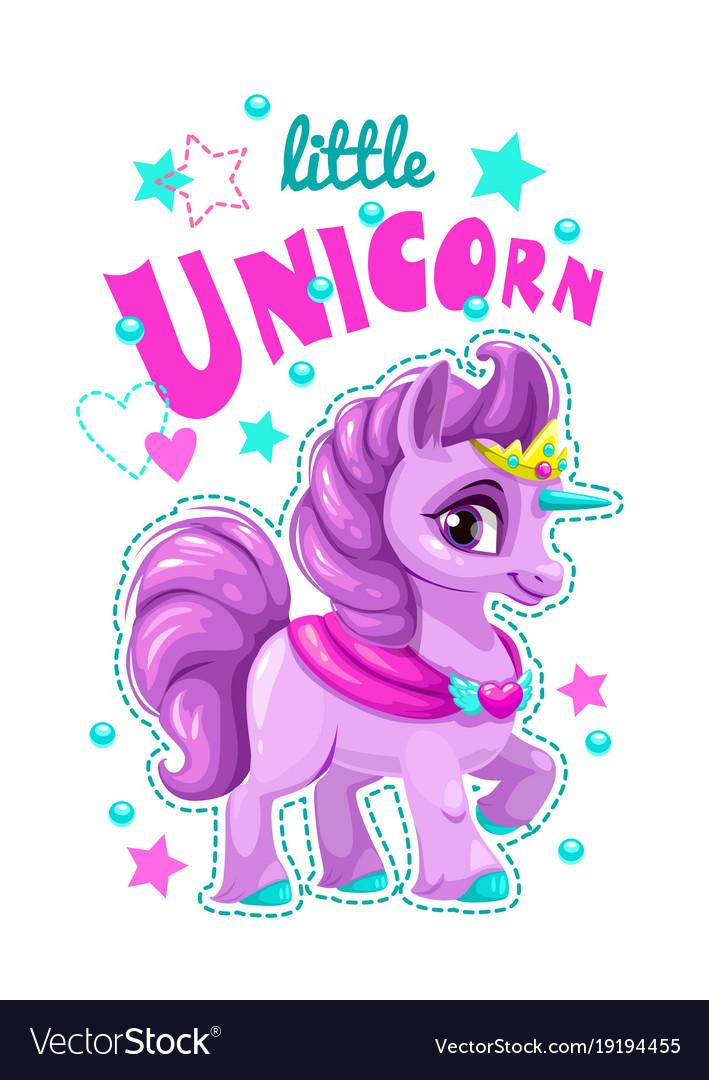 Little cute cartoon unicorn label vector image
