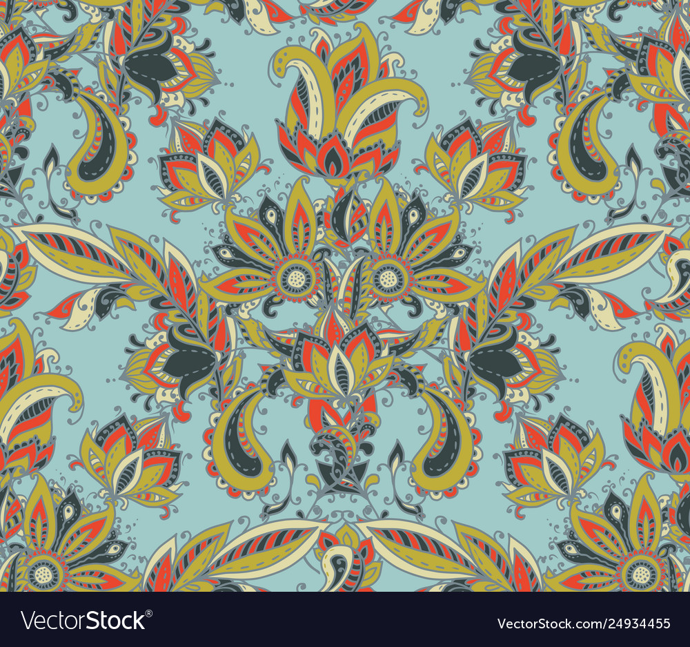 Seamless pattern with hand drawn paisley