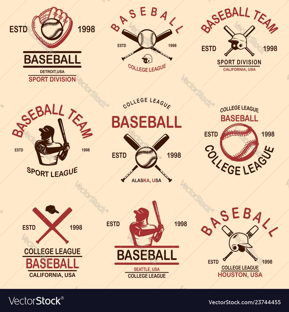 Set of baseball emblems design element for logo