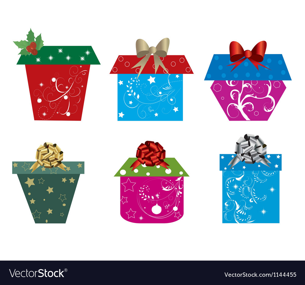 Set of christmas presents Royalty Free Vector Image