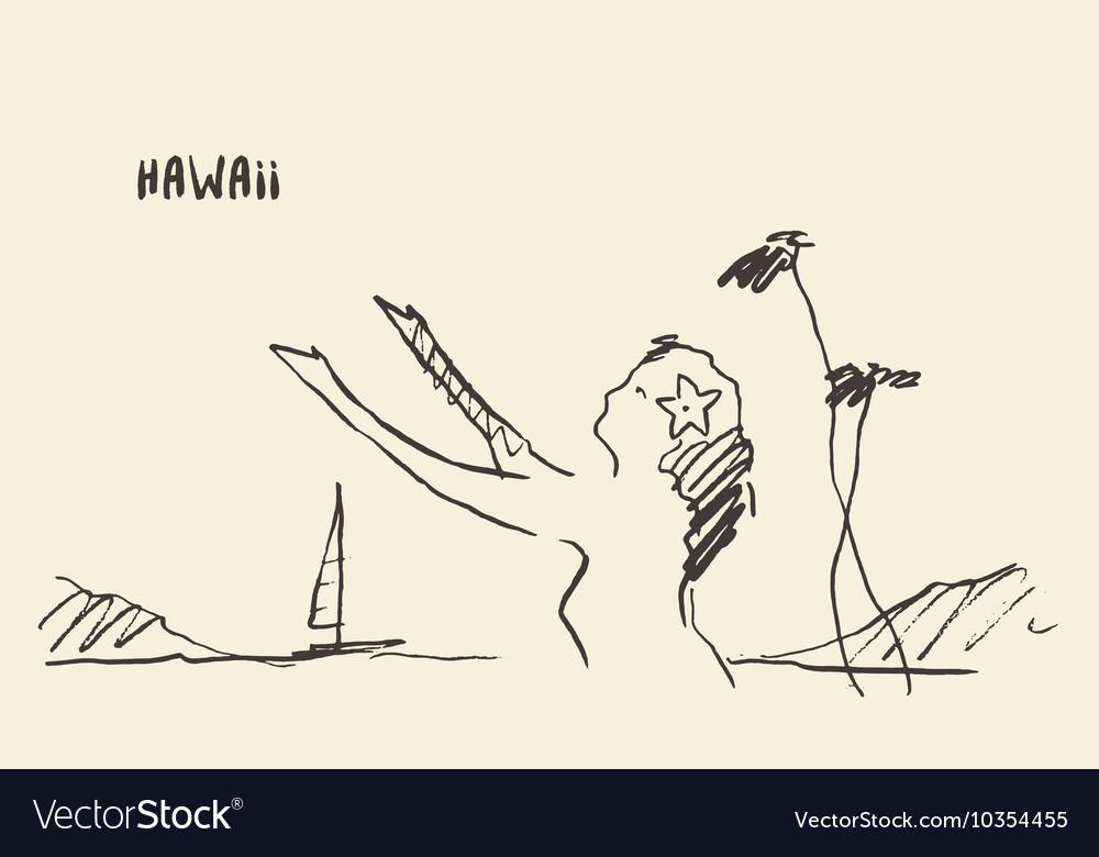 Sketch Hawaiian girl drawn