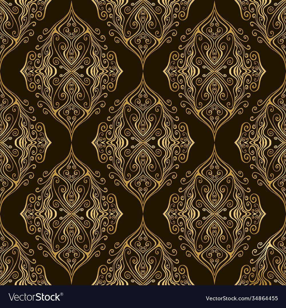 Vintage damask bohemian seamless pattern with