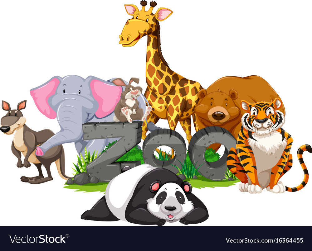 Wild animals around the zoo sign Royalty Free Vector Image