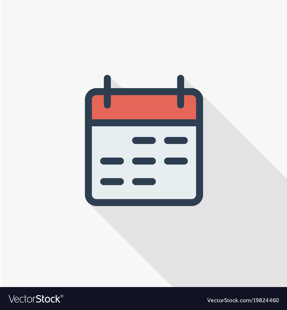 Calendar thin line flat color icon linear