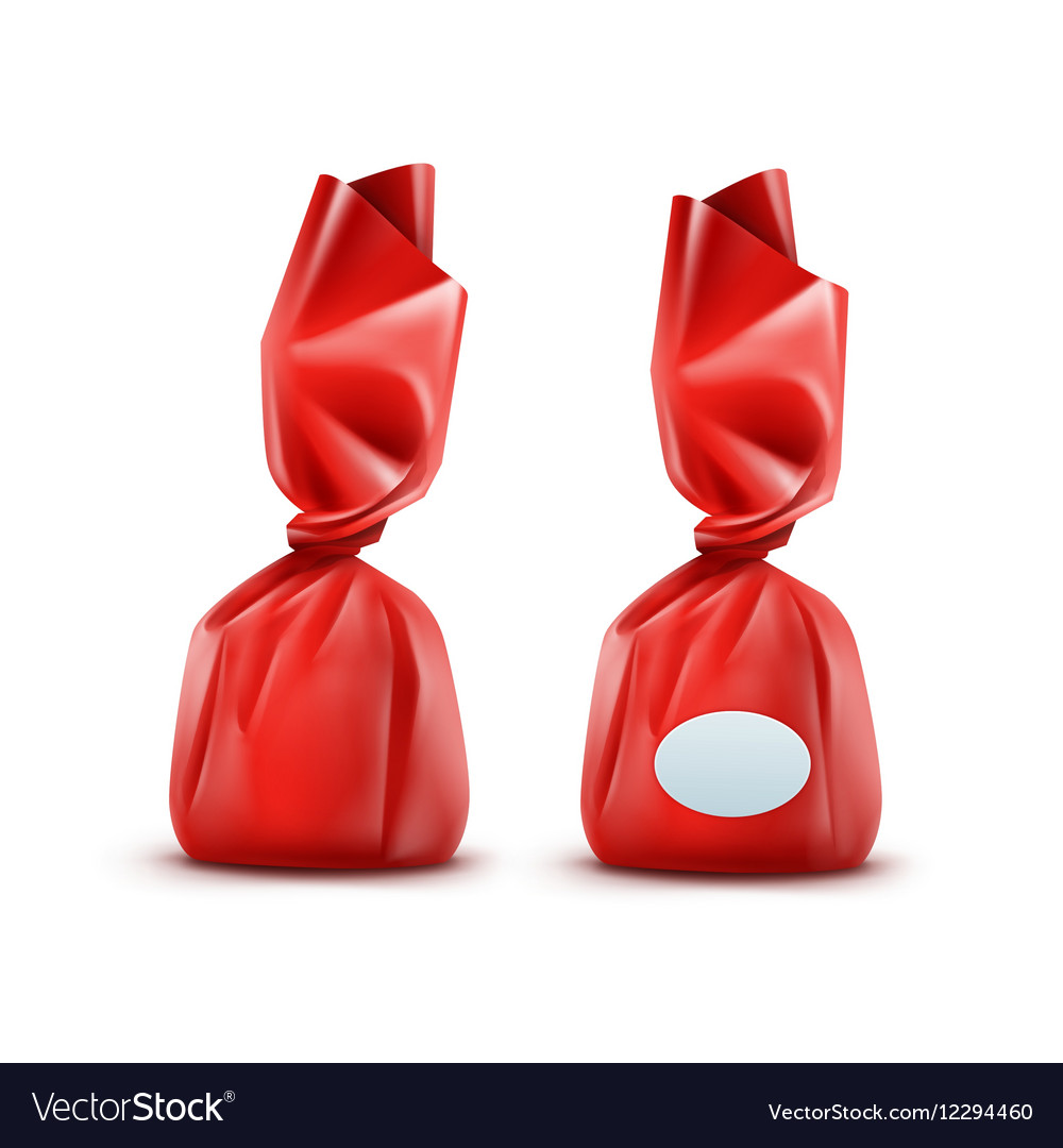 Chocolate Candy in Red Wrapper on Background