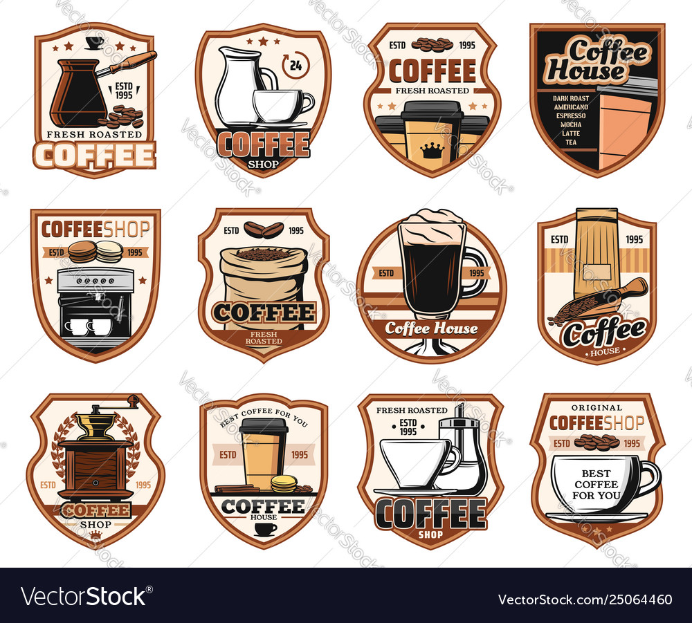 Coffeeshop cafeteria coffee house icons