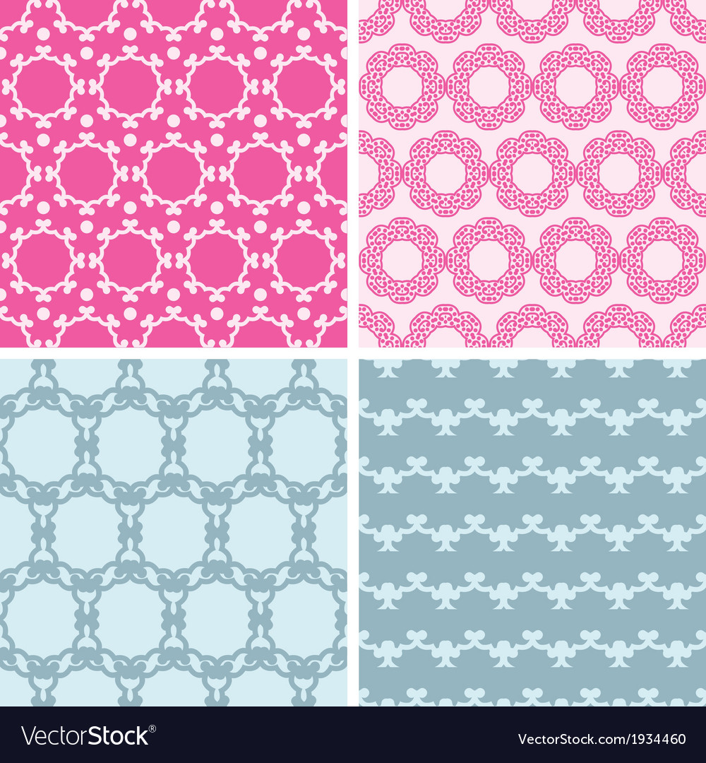 Four abstract chain motives seamless patterns set vector image