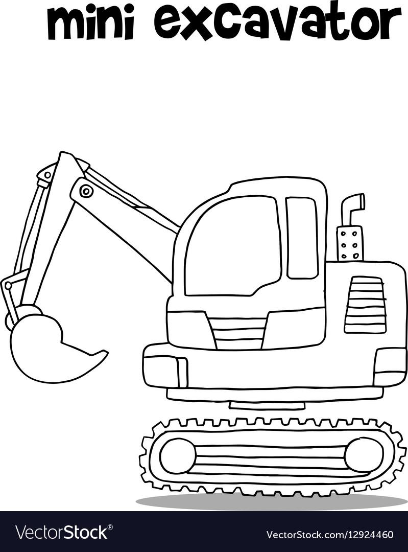 Hand draw of mini excavator Royalty Free Vector Image