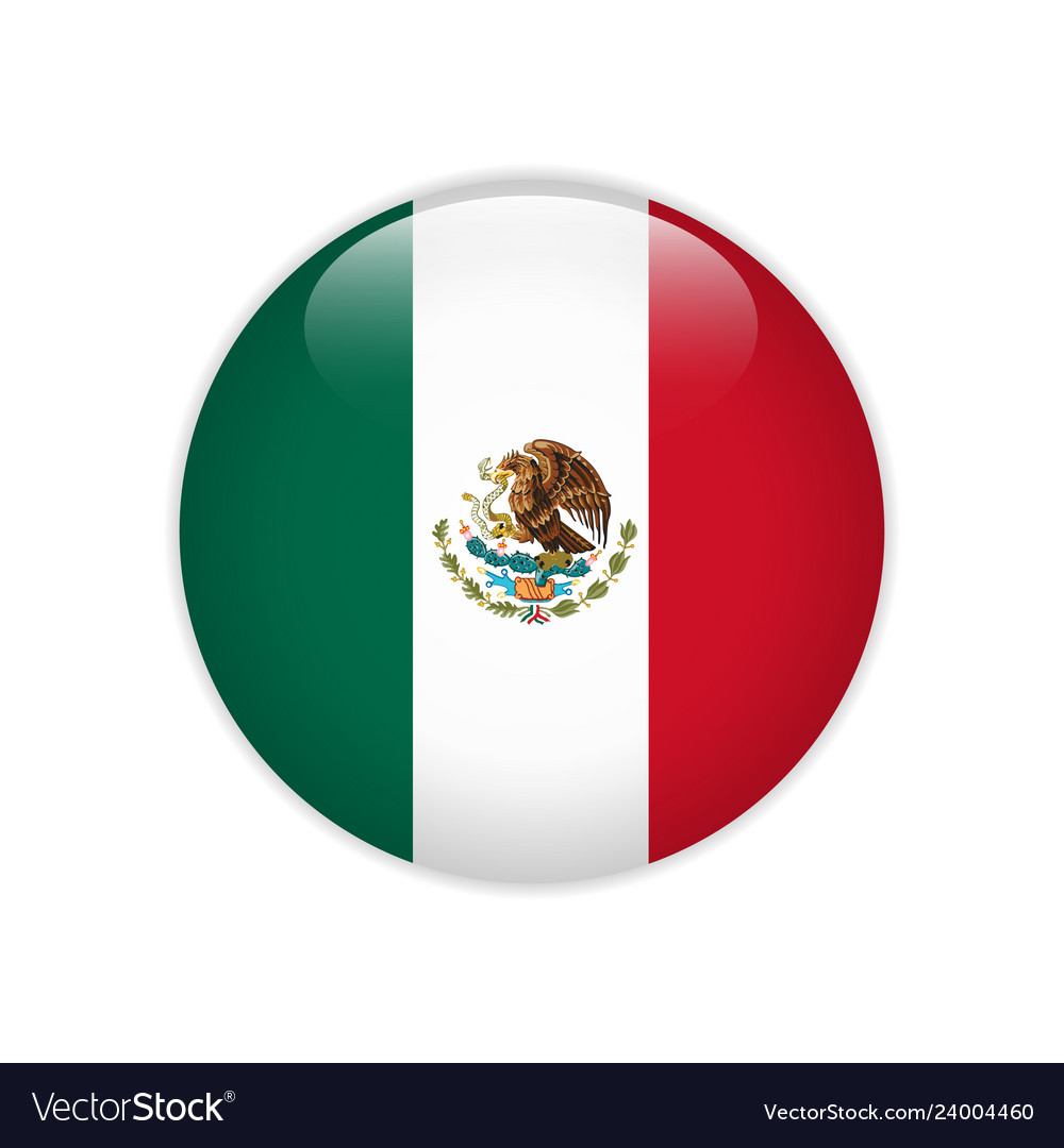 Mexico flag on button Royalty Free Vector Image