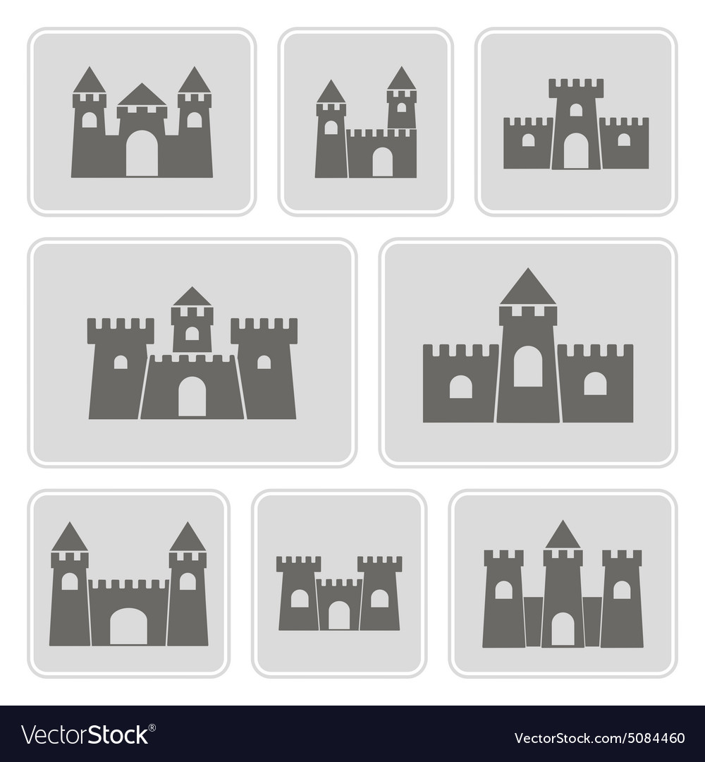 Monochrome icons with different castles