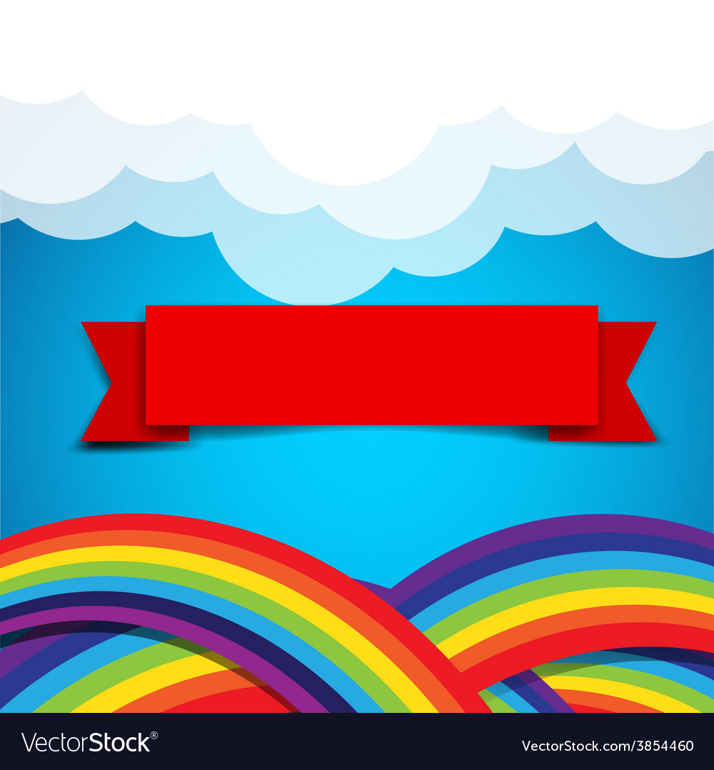 Red ribbon banner on rainbow clound and sky
