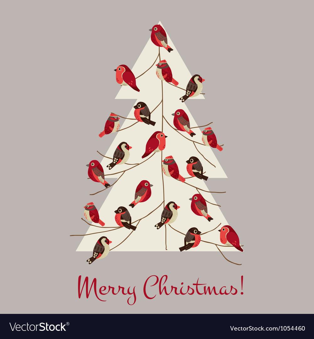 Retro Christmas Card - Winter Birds on Christmas T
