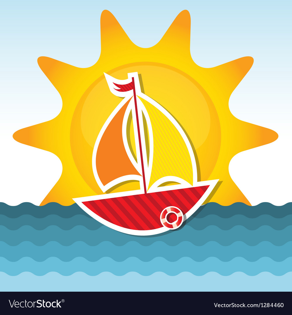 Sailing boat on the sea vector image
