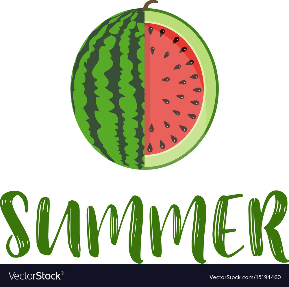 summer word with fruit watermelon royalty free vector image