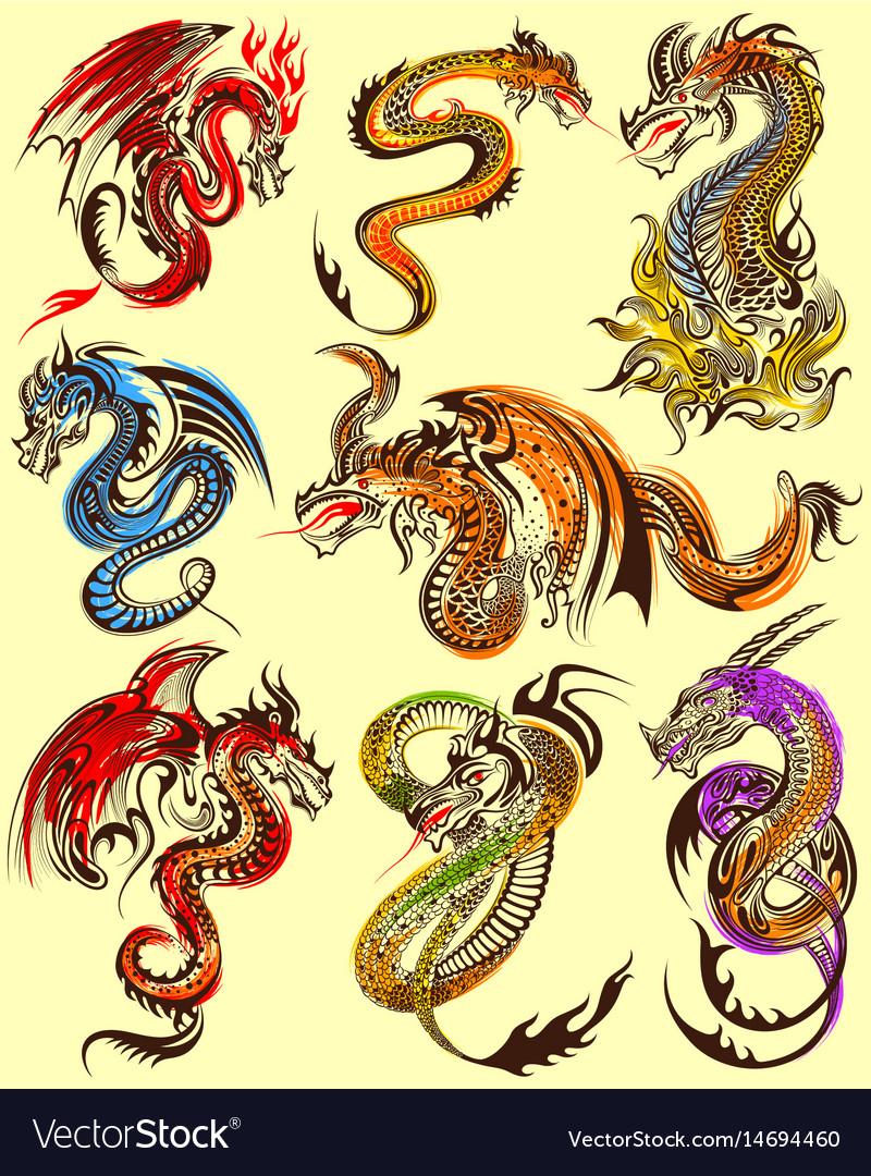 Tattoo art design of furious dragon collection