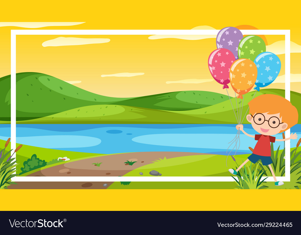 background scene with happy boy river royalty free vector vectorstock