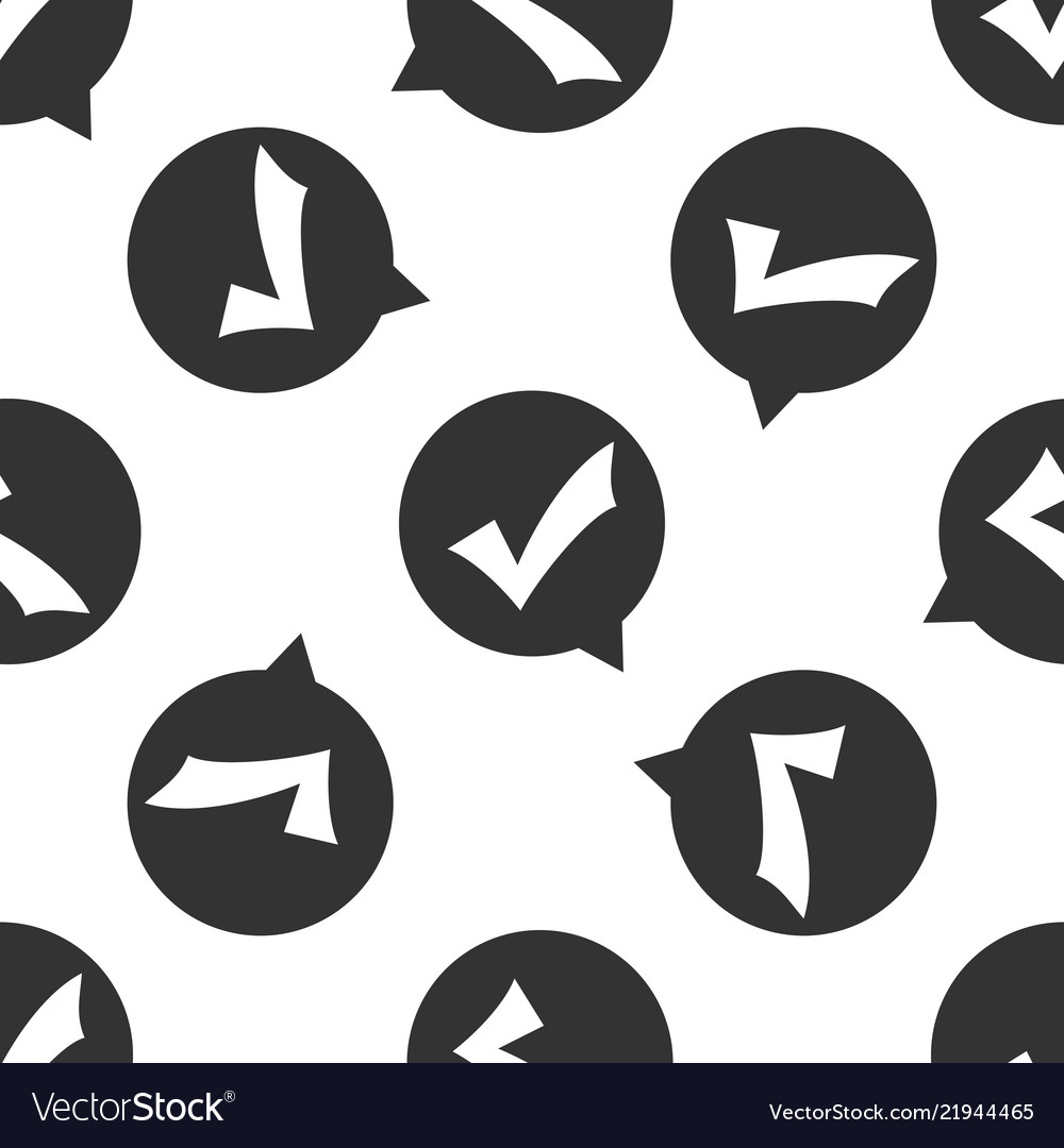 Check mark in circle icon seamless pattern