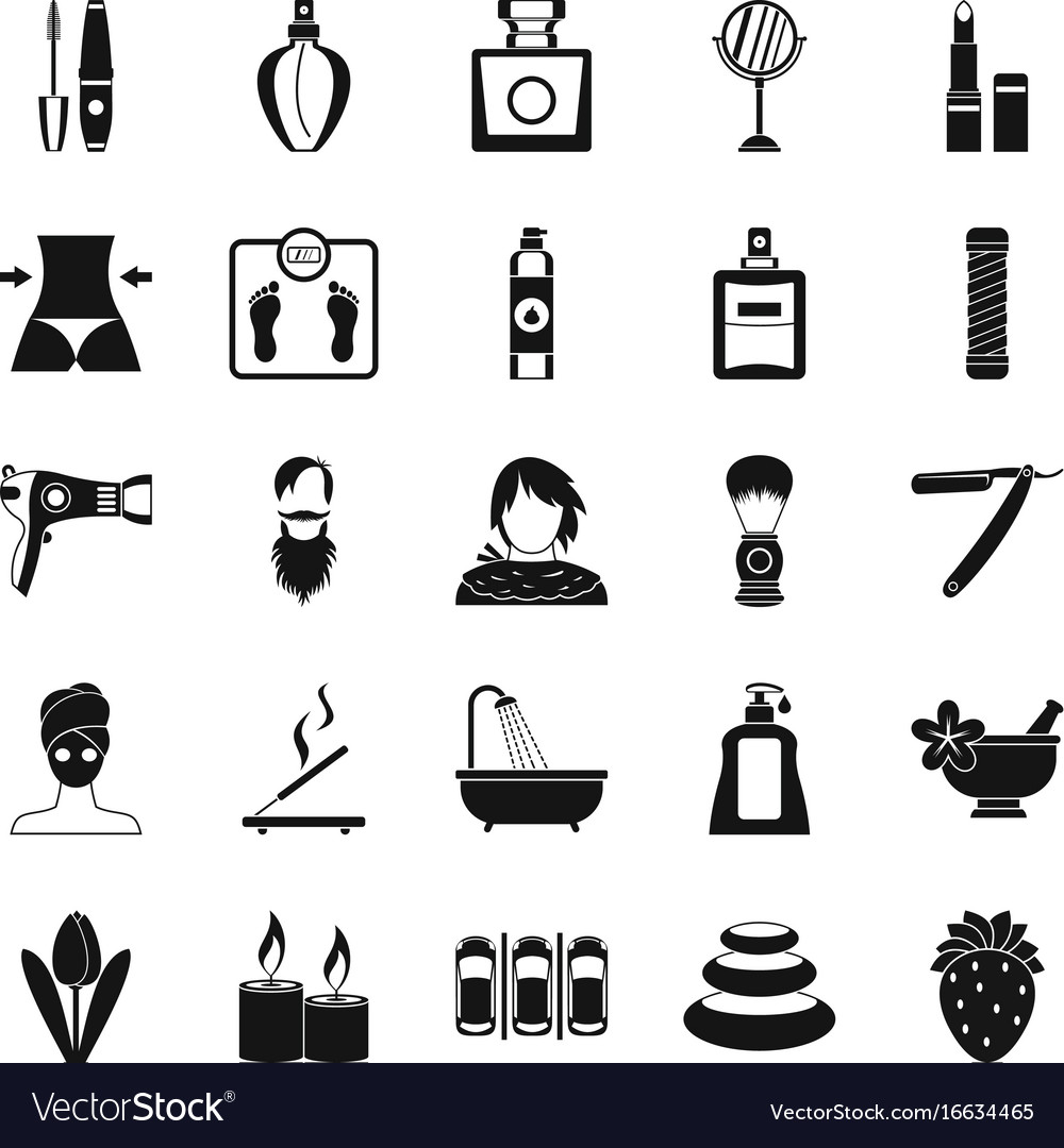 cosmetology icons set simple style royalty free vector image