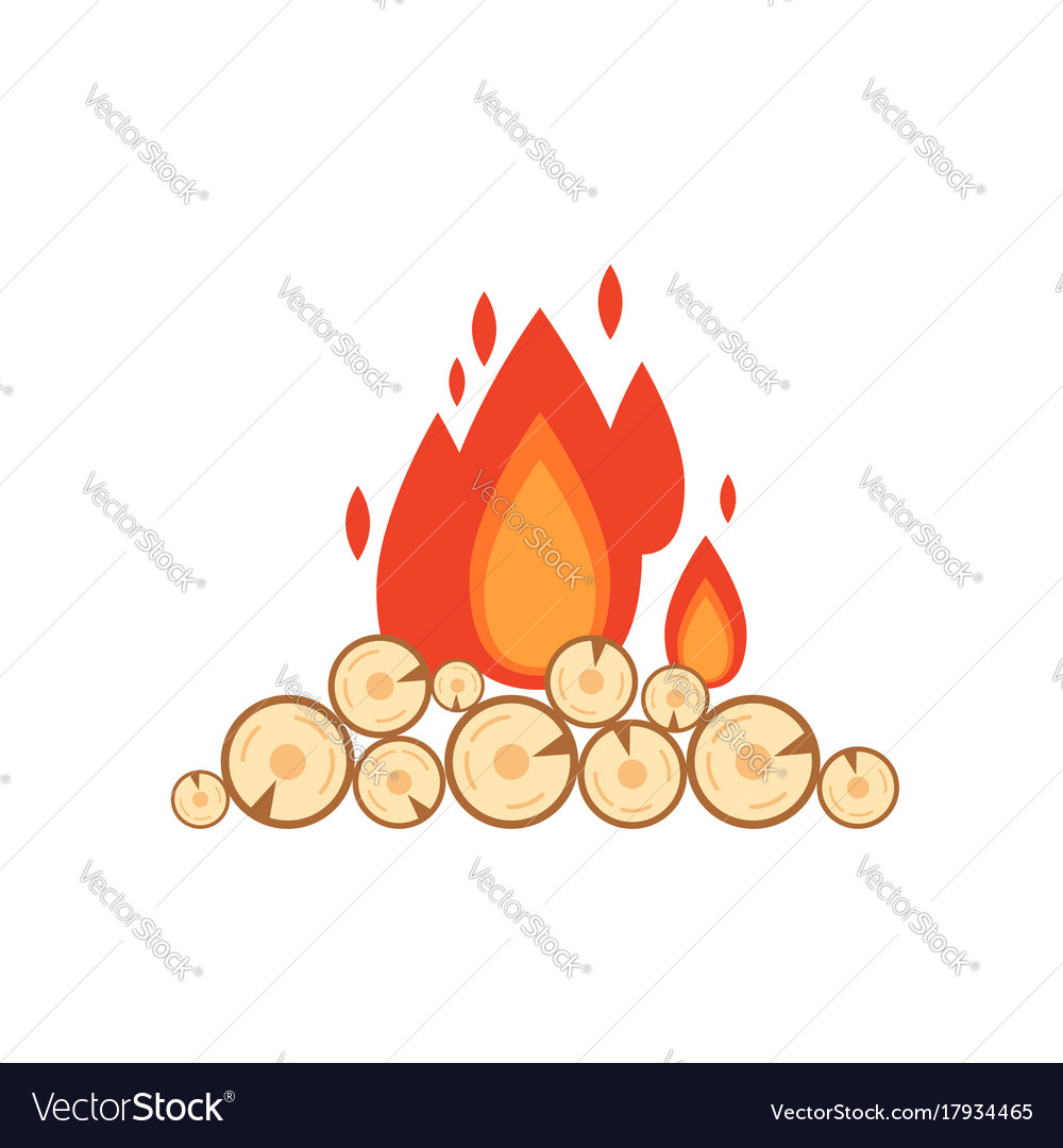 Flat style of bonfire isolated