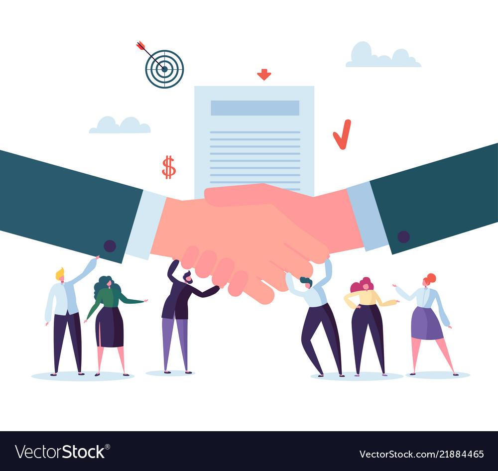 Handshake business agreement flat people character