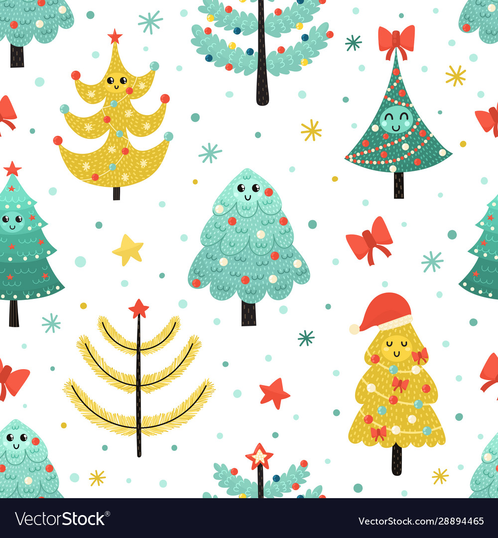 Happy christmas trees seamless pattern funny
