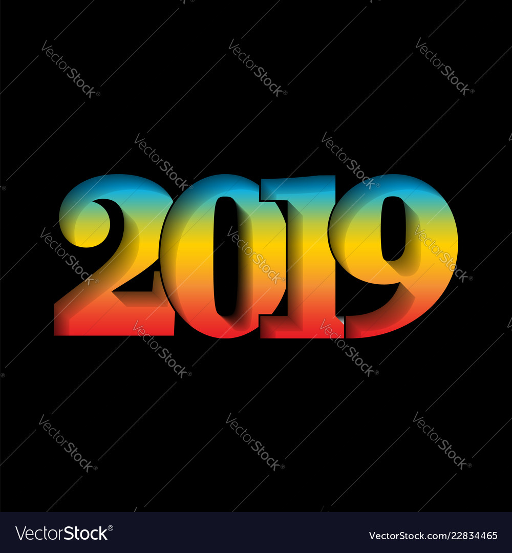Happy new year card 3d number 2019 with rainbow