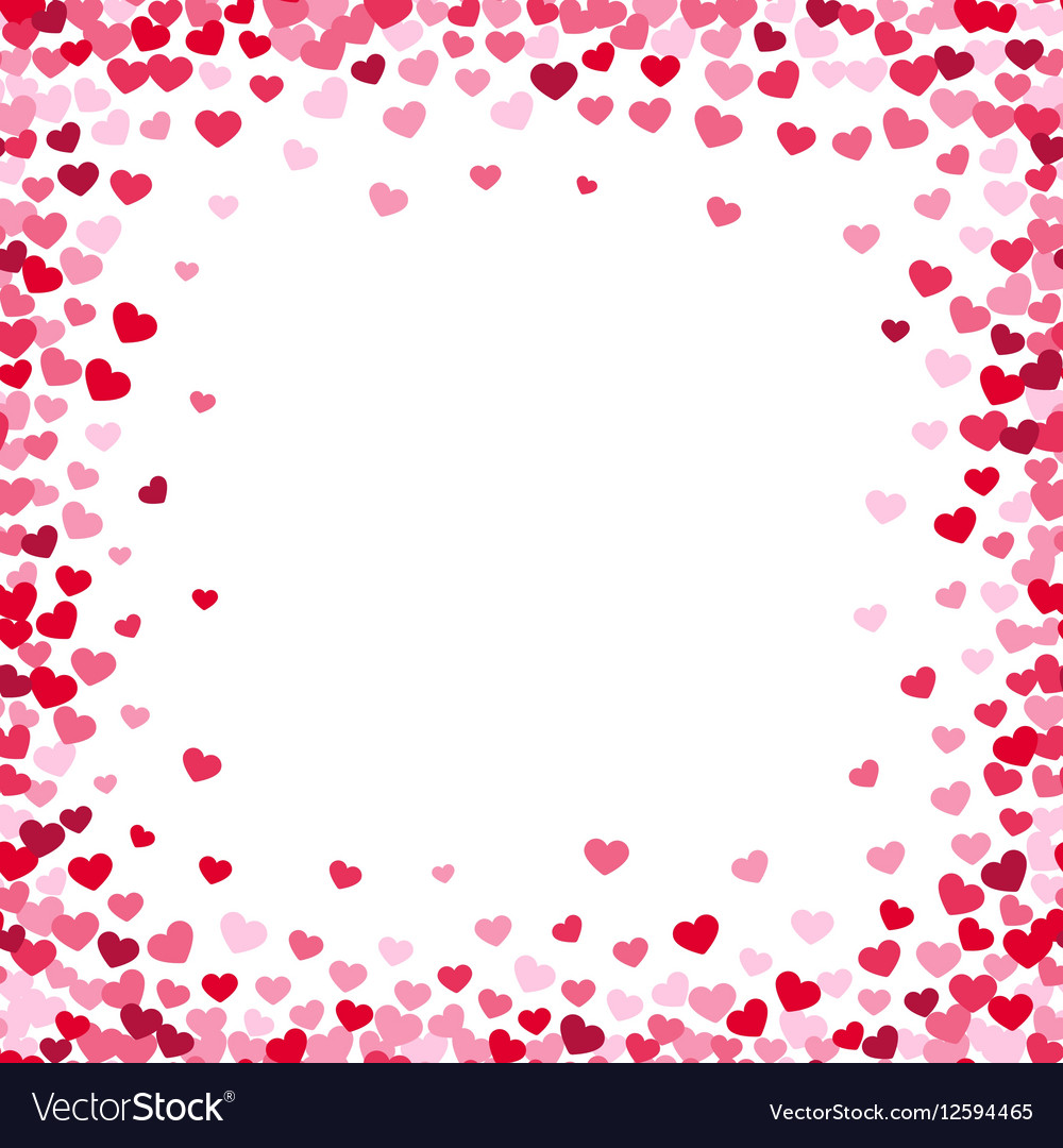 lovely heart frame with confetti hearts royalty free vector