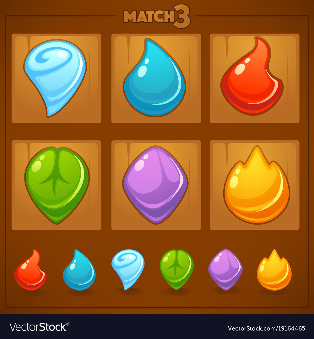 Match 3 mobile game games objects earth water