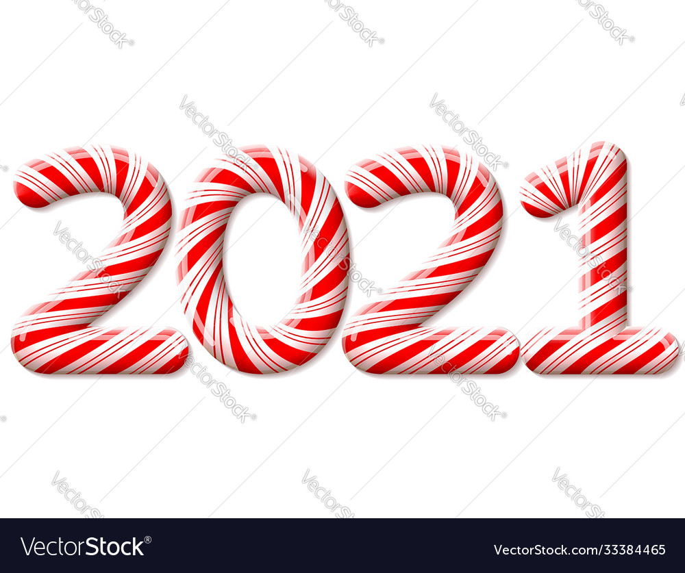 New year 2021 in shape candy stick isolated on