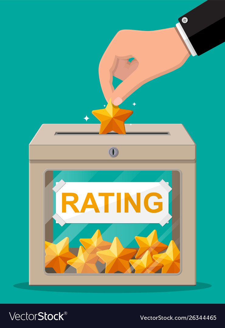 Rating box and hand with golden star