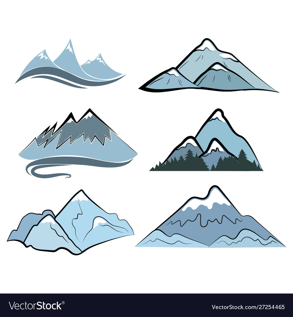 Set mountains collection stylized mountain
