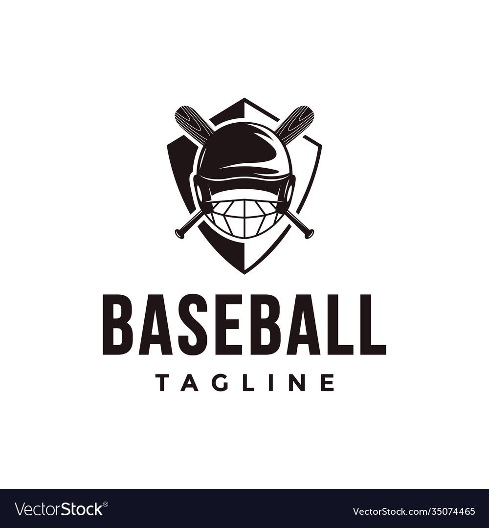 Shield baseball logo with crossed wooden helmet