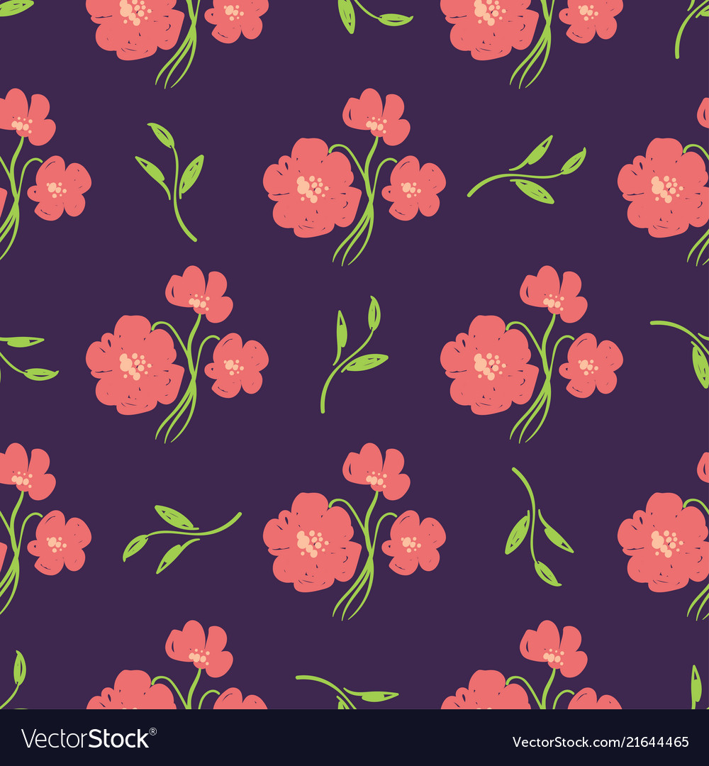 Simple Beautiful Hand Drawn Flowers Royalty Free Vector