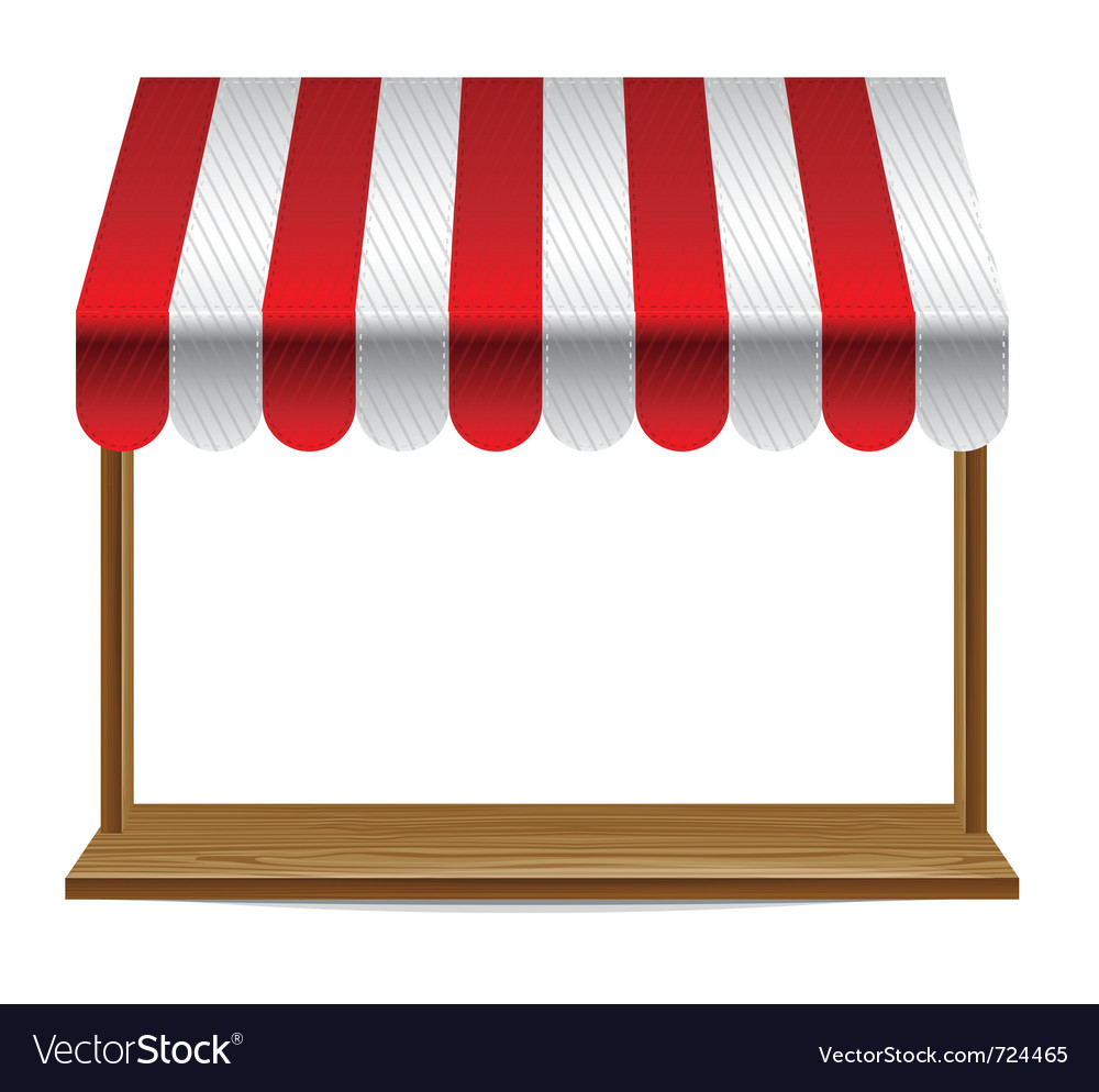 Store window with striped awning vector image