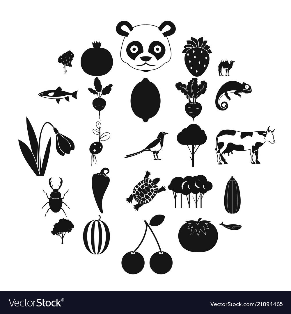 Tropical food icons set simple style