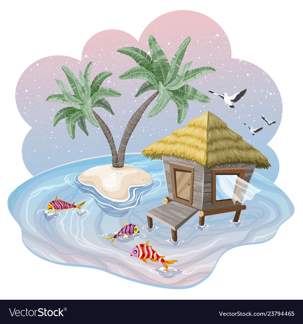 Tropical island in ocean with palm trees and