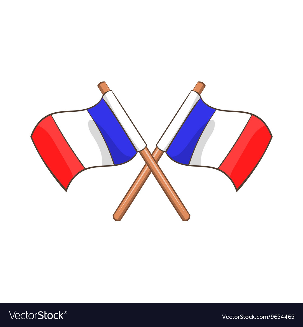 Two crossed Flags of France icon cartoon style