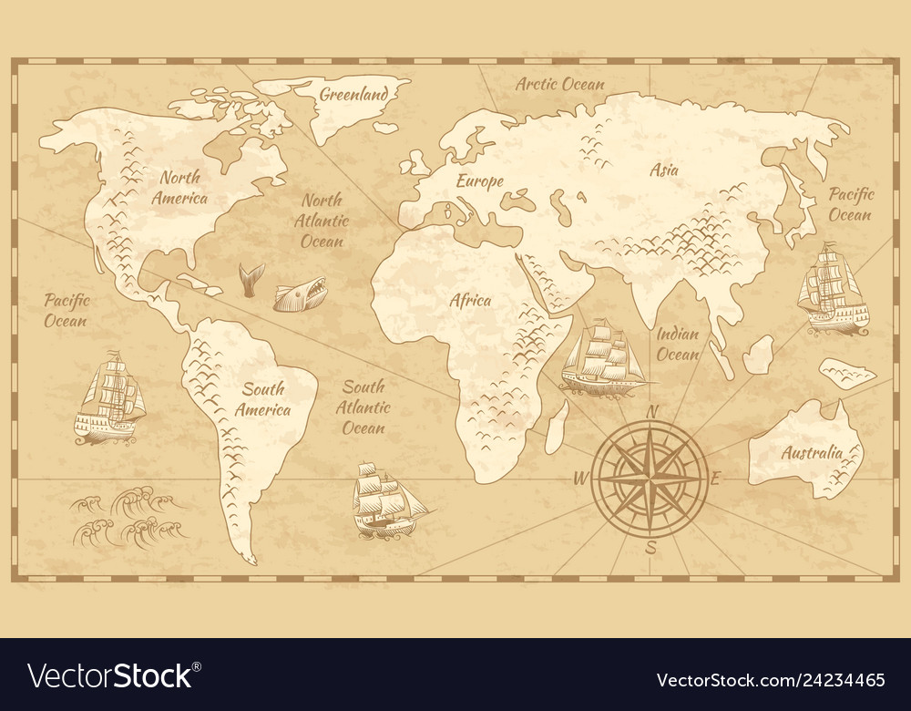 Vintage world map ancient world antiquity paper