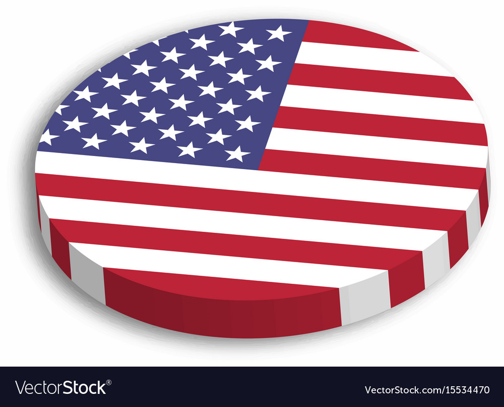 American flag circle 3d button with dropped shadow