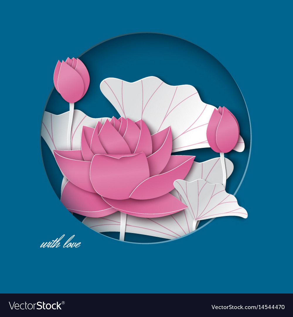 Blue card with cut round frame pink lotus flower