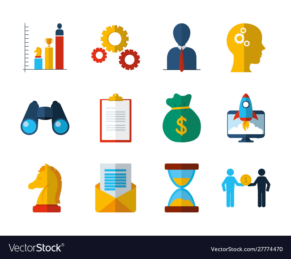 Business work success finance icons set
