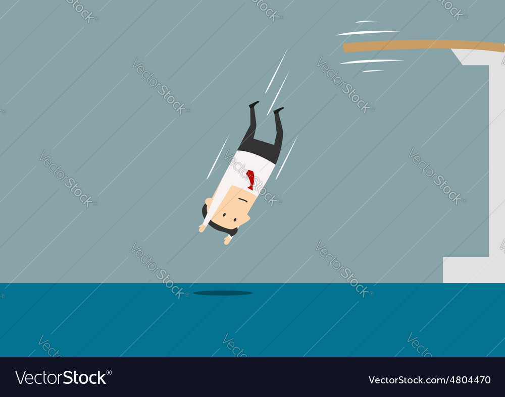 Businessman diving into a swimming pool