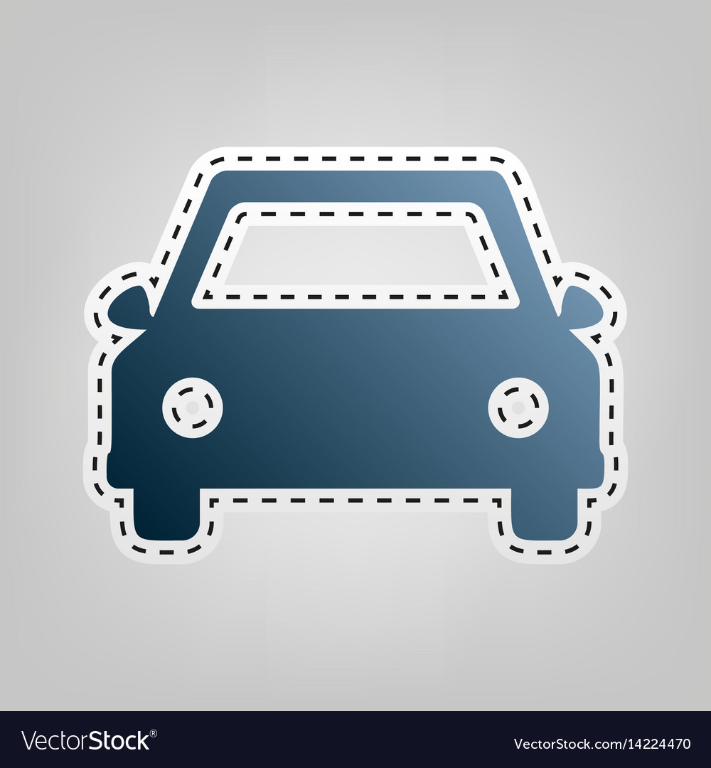Car sign blue icon with