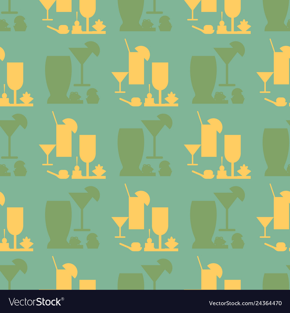 Catering glassware flat seamless pattern