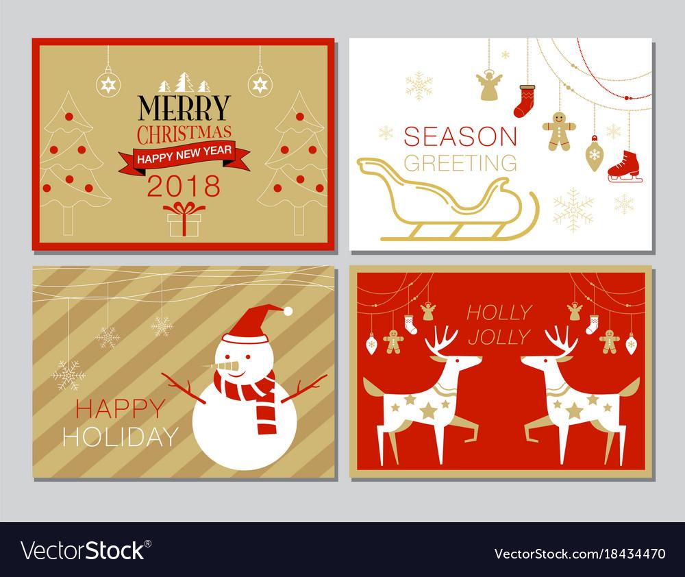 Christmas card collection set simple modern