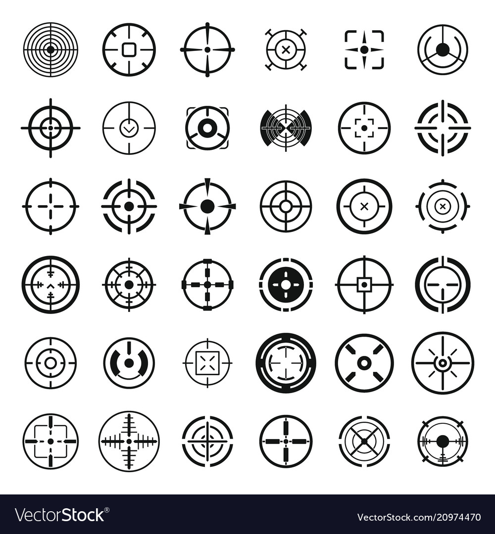 Crosshair target sight icons set simple style