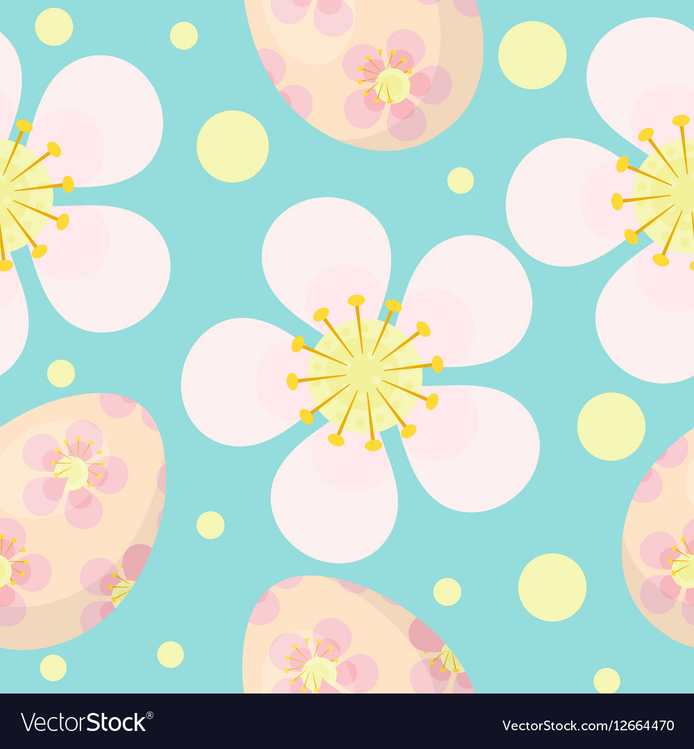 Cute Easter seamless pattern with eggs and flowers