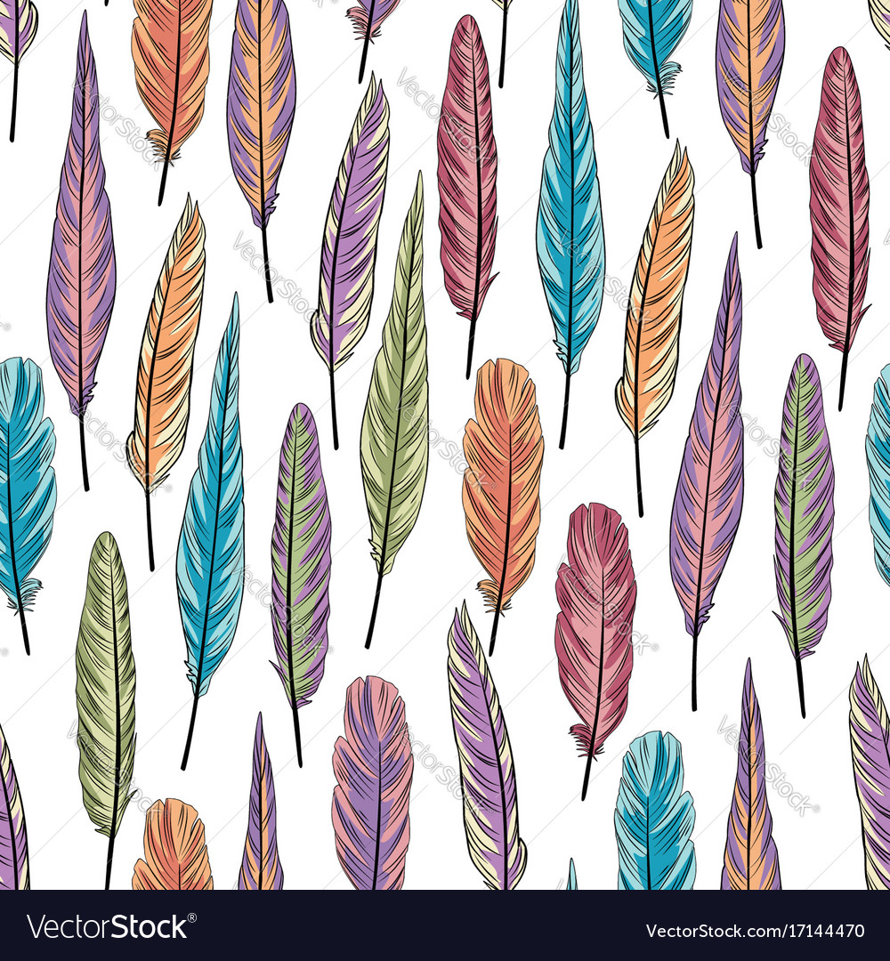 Feather seamless pattern birds feathers over